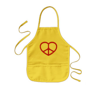 Red Heart of Love, Peace Sign Kids' Apron