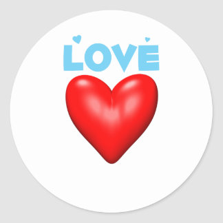 Red Heart of Love Round Stickers