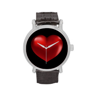 Red Heart on Black Background watch