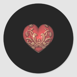 Red Heart on Black Classic Round Sticker