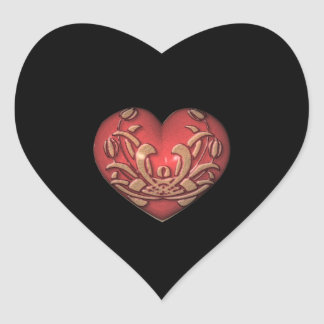 Red Heart on Black Heart Sticker