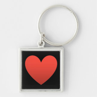 Red Heart on Black - Keychain