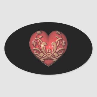 Red Heart on Black Oval Sticker