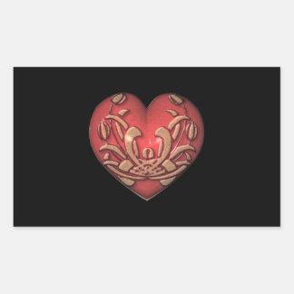 Red Heart on Black Rectangular Sticker
