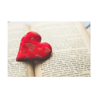 Red Heart on Book Pages Canvas Print
