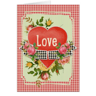 Red Heart on Checked Pattern Valentine Card