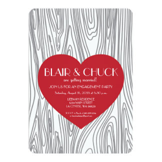 Red Heart on Faux Wood Tree Engagement Invite