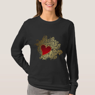 Red Heart on Gold Filigree T-Shirt