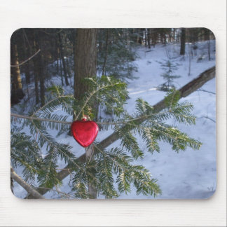 Red Heart on Pine Branch Mouse Pad