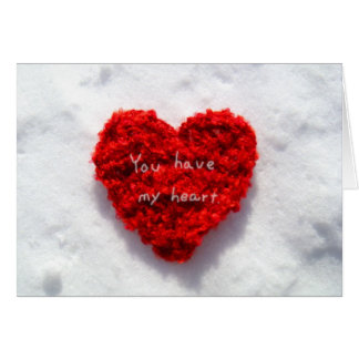 Red Heart on Pure White Snow I Love You Card