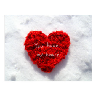 Red Heart on Pure White Snow Love Card by MiKa Art