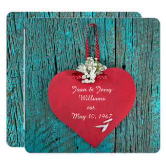 red heart on turquoise wood vow renewal invitation