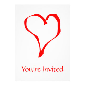 Red Heart on White Personalized Invitations