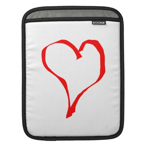 Red Heart on White. iPad Sleeves