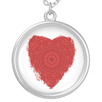 Red heart on white kaleidoscope necklace