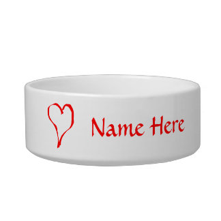 Red Heart on White. Pet Water Bowls