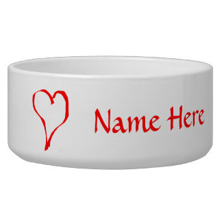 Red Heart on White. Pet Food Bowl