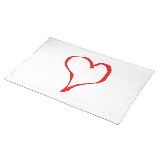 Red Heart on White. Place Mats