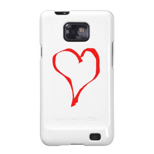 Red Heart on White. Samsung Galaxy S2 Cases