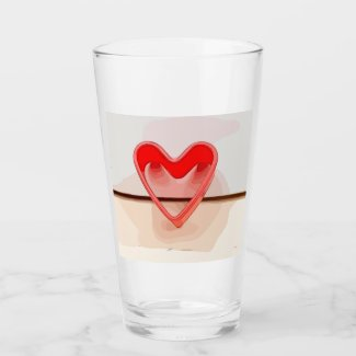 Red heart on wooden background watercolor glass