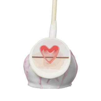 Red heart on wooden  watercolor valentine's day cake pops
