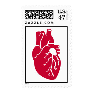 Red heart organ postage