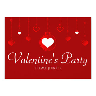 Red Heart Ornaments Valentine Party Invitation