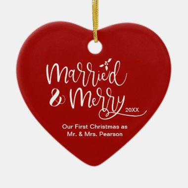 Red Heart Our First Christmas Married Merry Photo Ceramic Ornament