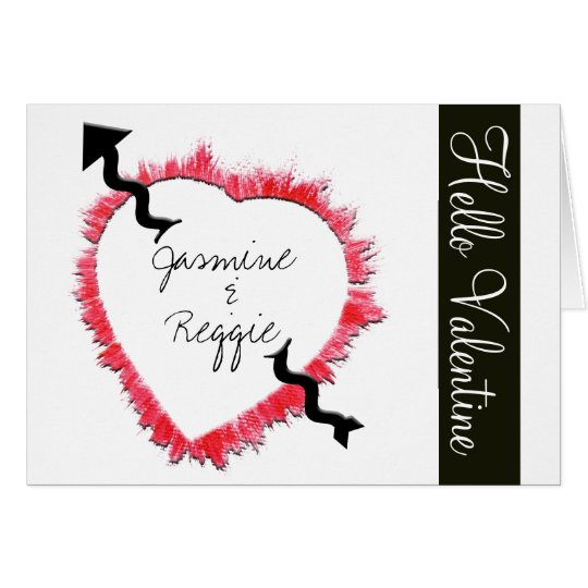 Red Heart Outline With Arrow Card