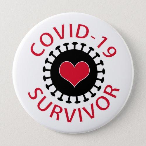 Red Heart Pandemic Coronavirus Covid_19 Survivor Button