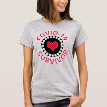 Red Heart Pandemic Coronavirus Covid-19 Survivor T-Shirt