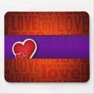 Red heart paper classic valentine s day mouse pad