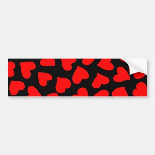 Red Heart Pattern Bumper Stickers