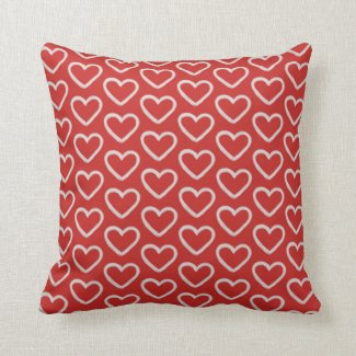 Red Heart Pattern Cute Girly Valentine Throw Pillow