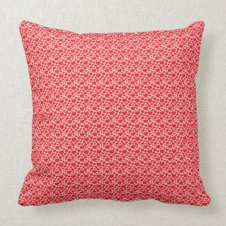 Red Heart Pattern Decorative Pillow