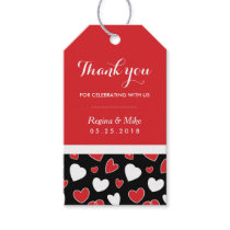 Red Heart Pattern Doodles Wedding Favor Gift Tag