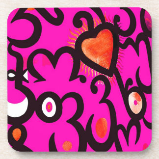 Red Heart Pattern in Pink Drink Coaster