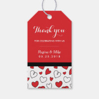 Red Heart Pattern Love Doodles Wedding Gift Tags