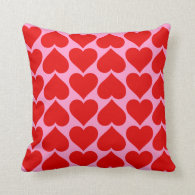 Red Heart Pattern on Pink Valentine Custom Color Pillow