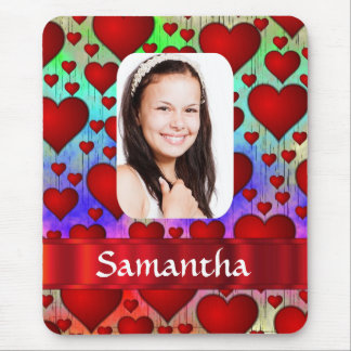 Red heart pattern personalized photo template mouse pad