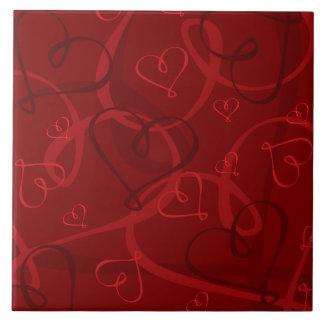 Red heart pattern tile