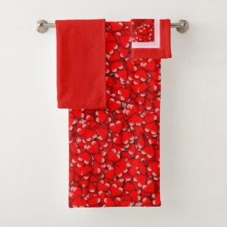 Red Heart Pattern Valentines' Day Towel Set