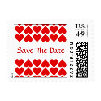 Red Heart Pattern Wedding Save The Date Pick Color Postage