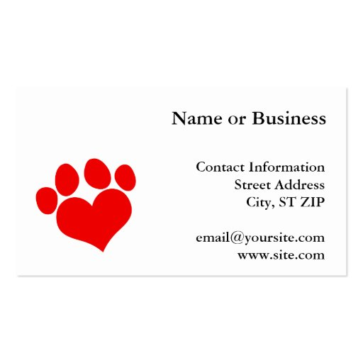 Paw print business card templates page2 bizcardstudio red heart paw print 2 business card template pronofoot35fo Choice Image