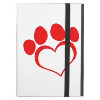 Red Heart Paw Print iPad Cover