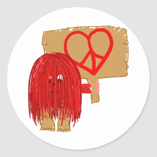 Red heart peace classic round sticker