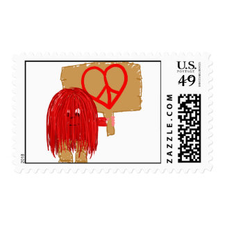 Red heart peace postage stamp