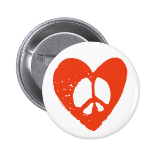 Red Heart Peace Sign 2 Inch Round Button