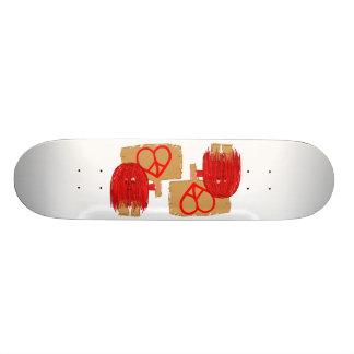 Red heart peace skateboard