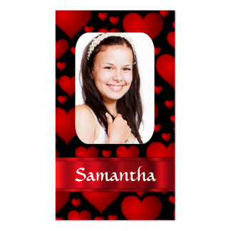 Red heart personalized photo business card